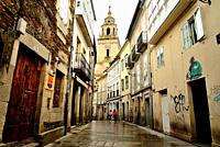 Street in the old city of Lugo, Spain.