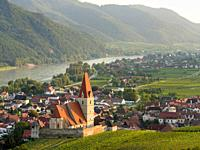 Historic village Weissenkirchen located in wine-growing area Wachau. Wachau is listed as UNESCO world heritage. Europe, Austria, Lower Austria.