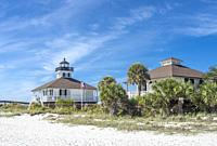 Port Boca Grande Lighthouse and Museum, in Gasparilla Island State Park on the Gulf of Mexico in southwest Florida in the United States.