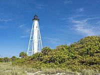Historic Gasparilla Island Light or range light in Gasparilla Island State Park on the Gulf of Mexico in southwest Florida in the United States.