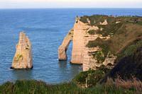 The cliffs of Etretat on the Normandy coast,France.