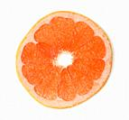 cut round piece of grapefruit isolated on white background, top view.