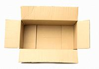 open empty cardboard rectangular box made of corrugated brown paper isolated on a white background, top view.