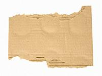 torn piece of corrugated cardboard isolated on white background, close up.