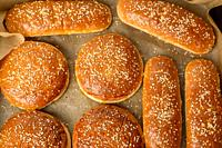 baked sesame buns on brown parchment paper, ingredient for a hamburger, top view.