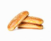 baked oval hot dog bun, baked goods sprinkled with sesame seeds and isolated on white background, set.