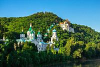 Svyatogorsk, Ukraine 07. 16. 2020. Panoramic view of the Holy Mountains Lavra of the Holy Dormition in Svyatogorsk or Sviatohirsk, Ukraine, on a sunny...