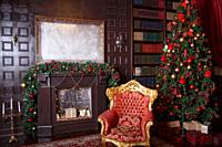 Christmas decor in royal living room with a vintage armchair, fireplace.