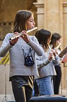 Christmas audition by the Llucmajor music school, San Buenaventura Cloister, Llucmajor, Mallorca, Balearic Islands, Spain.