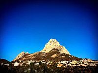 The Peña de Bernal monolite rock mountain in San Sebastian Bernal, Mexico