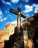 A wooden cross decorates the Hostal Medieval hotel in Peña de Bernal, Queretaro, Mexico.