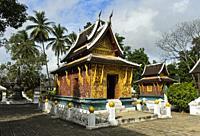 Red Chapel of the Temple Wat Xieng Thong, Luang Prabang, Laos.