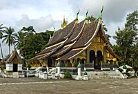 Central shrine hall Sim with a staggered roof, Wat Xieng Thong Temple, Luang Prabang, Laos.