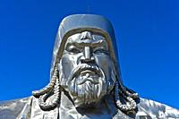 Portrait of Genghis Khan, Equestrian Statue of Genghis Khan, Genghis Khan Theme Park, Chinggis Khaan Statue Complex, Tsonjin Boldog, Mongolia, Asia.