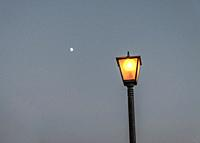Street lights under the moon.
