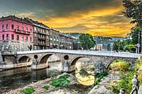 Sunrise over Sarajevo's Latin Bridge.