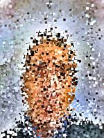 Pixelated mosaic portrait of a man, concept of facial recognition, hacking identity theft or spying