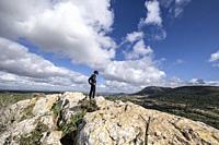 top of the Puig de Ses Bruixes, Sierra de Galdent, Llucmajor, Mallorca, Balearic Islands, Spain.