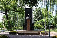 Jozef Pilsudski monument in Wolomin, main town of Wolomin County situated in the Masovian Voivodship near Warsaw, Poland.