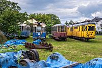 Tram cemetery in Skorosze area of Warsaw city, Poland.