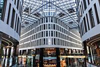 Shopping mall in Plac Unii office and commercial complex located at Pulawska Street in Warsaw, Poland.