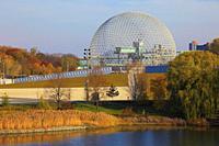 Canada, Quebec, Montreal, Ile Sainte-Hélène, Parc Jean-Drapeau, Biosphere, geodesic dome,.