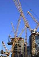 Canada, Quebec, Montreal, construction site, cranes,.