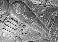 """Egypt, Dendera temple, in a crypt, strange scene called """"""""light bulb"""""""", sometimes seen as a proof that Ancient Egyptians knew electricity. it's in fac..."""