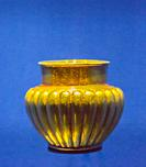 Egypt, Cairo, Egyptian Museum, dishes found in the royal necropolis of Tanis, burial of Psusennes : Gold vase with a heart-shaped belly.
