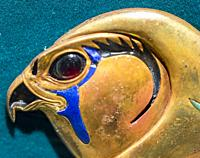 Egypt, Cairo, Egyptian Museum, from the tomb of Khnumit, daughter of Amenemhat 2, Dashur : Clasp, in the shape of a hawk head, of large collar (Usekh ...