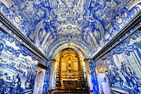 Blue Azulejos in Sao Filipe castle Chapel, Setubal, Lisbon Coast, Portugal.