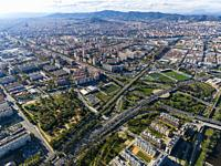 Aerial view of Barcelona , Spain.