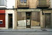 Traditional house with closed shop, Barco de Avila, province of Avila, Castilla y Leon, Spain