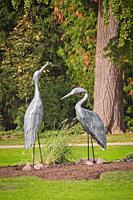 Bird statue in the Orangerie park in the city of Strasbourg
