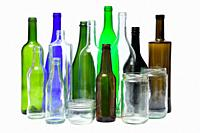 recycling glass on white background.