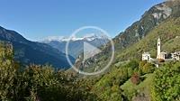 Scenic view across Soglio at Bregaglia Valley in autumn Grisons, Switzerland
