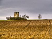 ploughed field and derelict farm building near Lauzun, Lot-et-Garonne Department, Nouvelle-Aquitaine, France.