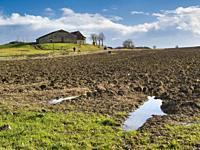 ploughed field in winter near Lauzun, Lot-et-Garonne Department, Nouvelle-Aquitaine, France.