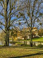 municipal park with Eglise Saint-Etienne, Lauzun, Lot-et-Garonne Department, Nouvelle-Aquitaine, France.
