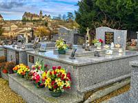 cemetery with Chateau Ducal, Lauzun, Lot-et-Garonne Department, Nouvelle-Aquitaine, France.
