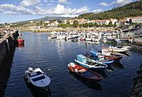 Europe, Spain, Galicia, Porto do Son, Harbour with moored fishing boats.