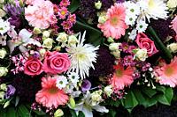 Bouquet of flowers on a gravestone. Pere Lachaise cemetery. Paris. Ile-de-France. France. Europe.