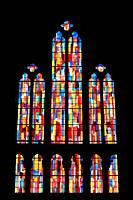 Vitrail. Eglise Notre-Dame du Perpetuel Secours. Paris. Ile-de-France. France. Europe. Stained glass. Church of Notre-Dame du Perpétuel Secours. Paris...
