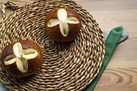 Bavarian rolls on a wicker plate.