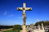 Jesus Christ on the cross. Coulommes cemetery. Seine et Marne. France. Europe.