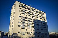 Stockholm, Sweden A landmark residential building known as Duggregnet 5 in the Björkhagen suburb was designed by Georg Varhelyis in 1957 and is an exa...