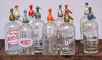 old soda water bottles, Mallorca, Balearic Islands, Spain.
