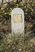 Kilometric milestone. Signposting of the Way to Santiago de Madrid in Las Puentecillas, between Simancas and Ciguñuela. Valladolid. Castile and Leon. ...