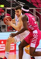 Bonn, Germany, 14.02.2021, Telekom Dome, Basketball Bundesliga, Telekom Baskets Bonn vs Syntainics MBC Weissenfels: Marko Krstanovic (MBC) und Josh Ha...