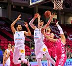 Bonn, Germany, 14.02.2021, Telekom Dome, Basketball Bundesliga, Telekom Baskets Bonn vs Syntainics MBC Weissenfels: David Brembly (MBC), Philipp Hartw...